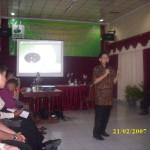 Asep Sudrajat (Ketua 1 DPP PBMTI) sedang memberikan arahan kpd peserta pelatihan di Korwil Lampung